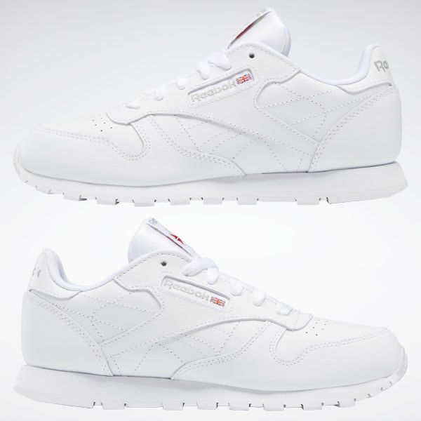Reebok Youth Shoes Classic Leather 50150 White Grey Running Tennis