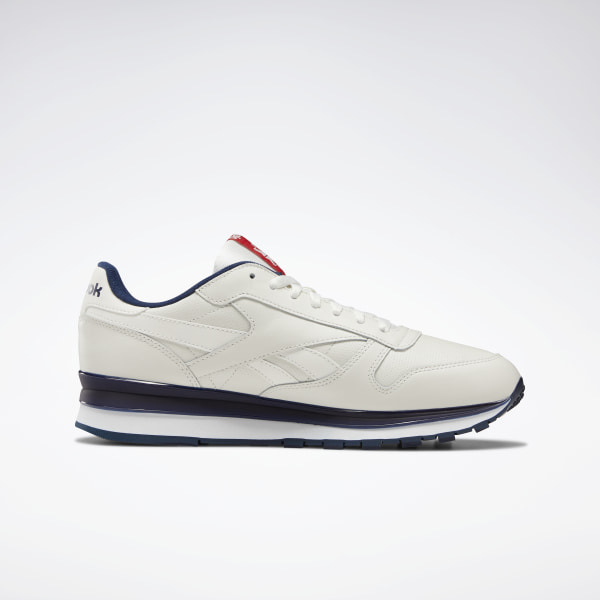New Reebok Classic Leather retro Mens athletic sneaker white red navy all sizes