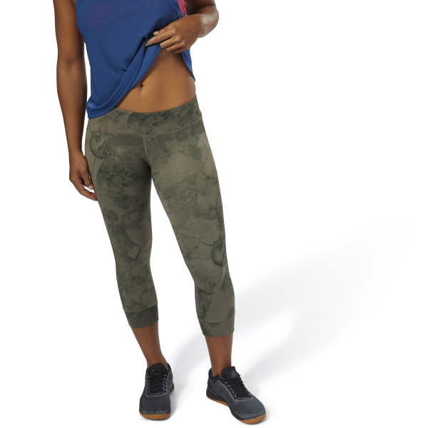 half off cheapest price united states Reebok CrossFit Lux 3/4 Tights - Stone Camo - Green | Reebok MLT