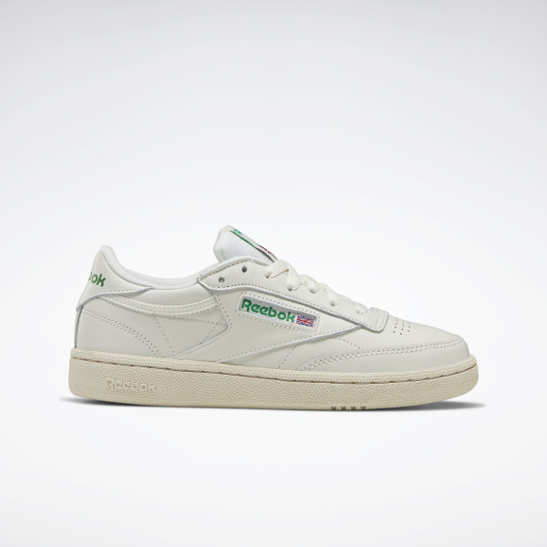 Reebok Classic Club C Vintage Sneakers In Chalk With Green
