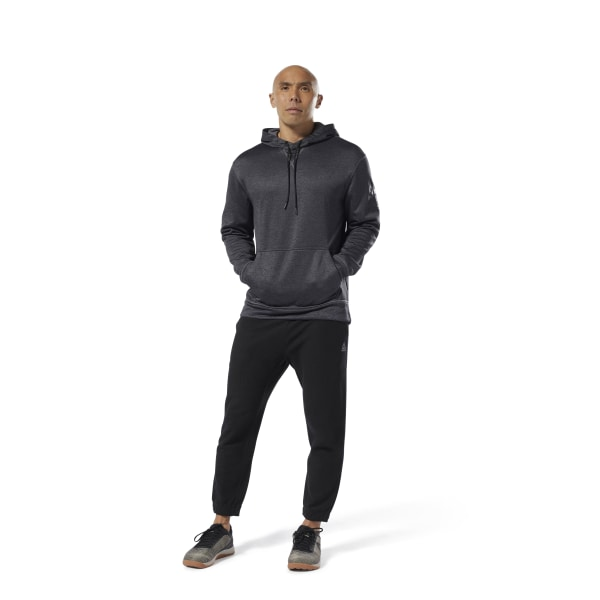 65b7998fbe86 Sudadera con capucha Workout Ready Poly Fleece Black Heather D94227