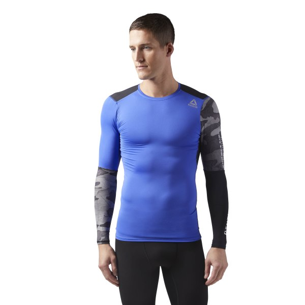 ffa6f0f694 Reebok ACTIVCHILL Graphic Long Sleeve Compression Shirt - Blue | Reebok MLT