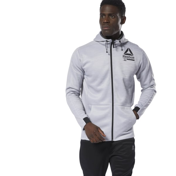 290b3cc094c02 Reebok Training Spacer Full-Zip Hoodie - Grey | Reebok MLT