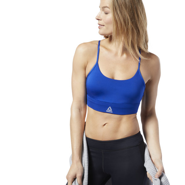 8f6230f4a4 Reebok Workout Ready Low-Impact Padded Bra - Blue | Reebok US