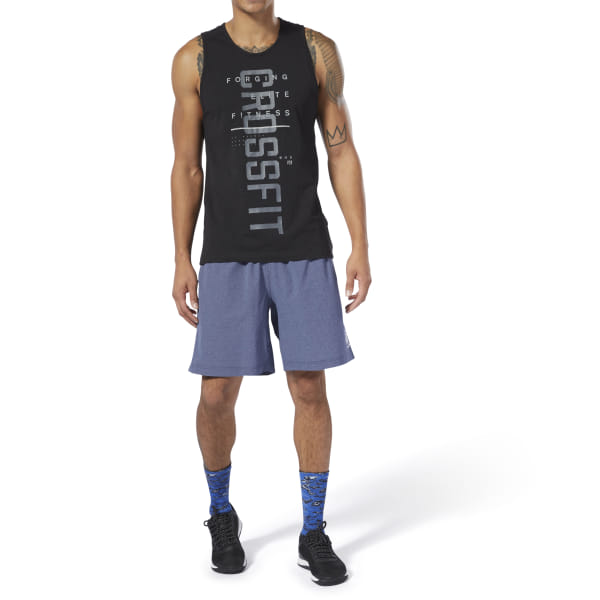 Channel your inner champion during your next workout with these men\'s shorts. Inspired by Rich Froning Jr., they feature his logo and signature. Built for box workout requirements, get ready to tackle your next set of squats or knock out some lunges. Designed for: CrossFit workouts, gym days, warm weather Fit: Slim fit Hand pockets add storage Speedwick technology wicks sweat away from the body to help you stay cool and dry Fabric: 83% Polyester / 17% Spandex, lightweight, stretch-woven fabric for comfort and mobility Exposed elastic waistband and side slits for a more comfortable fit Imported
