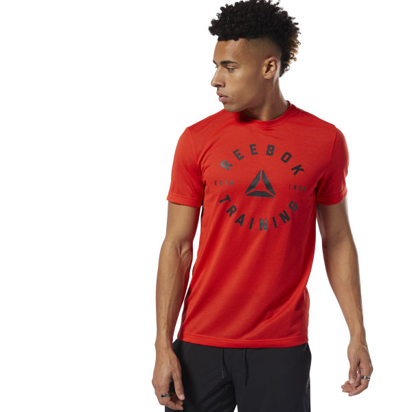 Train hard. Sweat hard. Engineered with Speedwick fabric technology, this men\'s training t-shirt pairs with breathable shorts for an intense workout session, or casual joggers for a relaxed look. The training graphic calls up a heritage of hard work. 100% polyester single jersey Designed for: Training, gym sessions Slim fit Speedwick fabric wicks sweat to help you stay cool and dry Training graphic at the front for an athletic look Imported