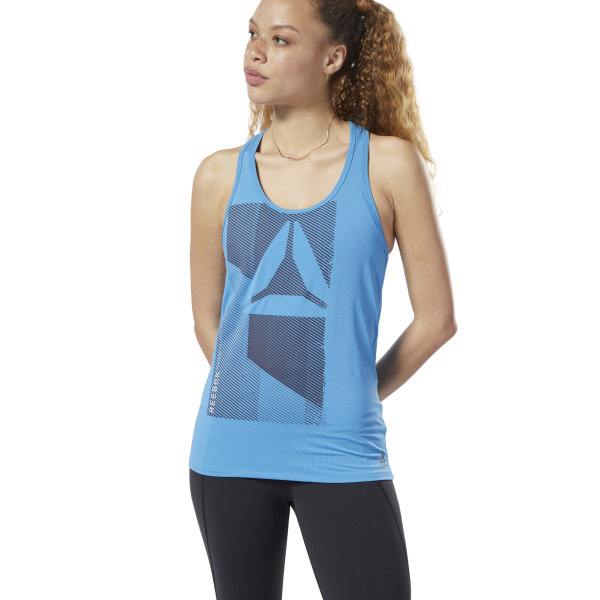 The lightweight, stretchy design of this women\'s tank top is made to move as your body does. Encouraging total range of motion, the breathable racer-back style helps fuel every rep with power and focus. An ACTIVCHILL mesh panel on the back offers enhanced ventilation to keep you cool. Front: 86% polyester / 14% elastane single jersey; 90% PA/ 10% elastane back mesh panel Designed for: Training workouts Slim fit Breathable ACTIVCHILL fabric helps you stay cool, no matter the conditions Scoop neck; Racer back Mesh back panel for ventilation and breathability Imported