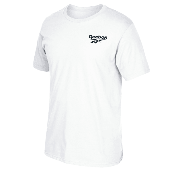 Profile your classic style in this tee. An iconic Reebok logo reflects your retro attitude, and the cotton keeps you comfortable. Plus, the ribbed neck and finish details mean a long-lasting, clean look. 100% Ring Spun Cotton Best for: everyday wear Regular fit Crew neck Crew neck Imported