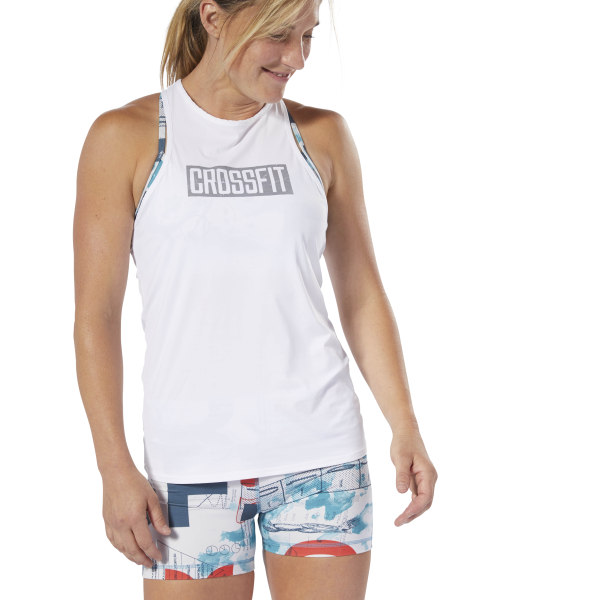 RX or scaled, you leave it all on the black rubber floor every time. This women\'s CrossFit tank top is made of breathable ACTIVCHILL fabric that\'s designed to wick moisture and keep you cool. It has a body-hugging fit, so it won\'t ride up during kettle bell swings or fall in your face during handstand pushups. 84% nylon / 16% spandex single jersey Designed for: CrossFit CrossFit-specific fit Breathable ACTIVCHILL fabric helps you stay cool, no matter the conditions Speedwick fabric wicks sweat to help you stay cool and dry Imported