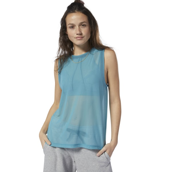 Always moving, never settling. Bring your own style to the studio with this women\'s mesh tank top. The sheer look is offset by the ribbed detail down the back. 93% nylon / 7% spandex mesh Designed for: Any type of workout Regular fit Sheer power mesh fabric for breathability and ventilation Vertical ribbed detail down back Imported