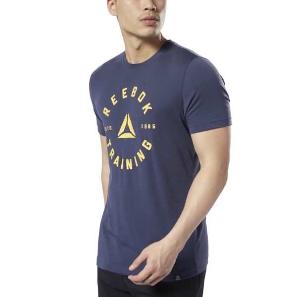 Reebok Homme qqr Stacked T Shirt Tee Top-Violet Sports Gym Respirant