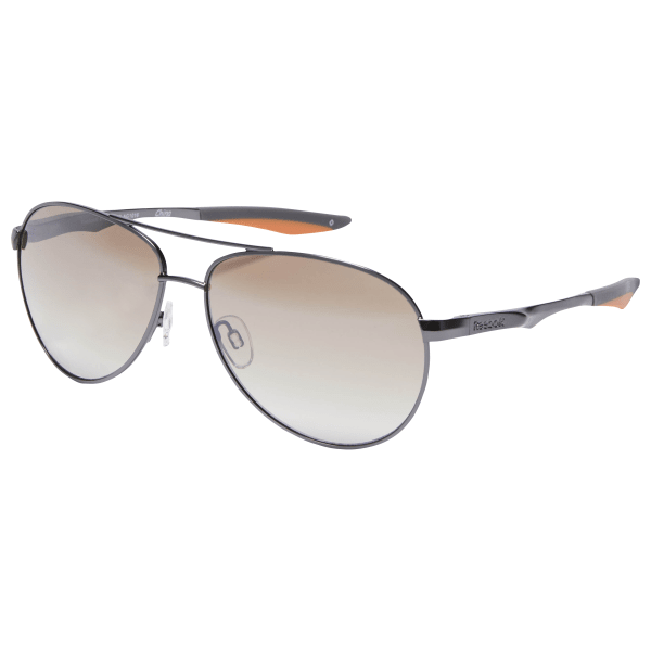 Get active outdoors and look good doing it with these sunglasses. The timeless aviator silhouette looks great, while rubber nose pads and spring hinges keep the fit flawless. 100% UV protection keeps harmful rays at bay, and the impact-resistant frame and lenses mean you can take these durable glasses on your more intense adventures. Materials: With double-injected rubber components Designed for: Outdoor activities, bright days, everyday wear Soft rubber nose pads for a stay-put fit 100% UVA/UVB protection guards eyes from the sun\'s harmful rays Impact-resistant lenses and frame for durability Spring hinges for a more flexible fit Imported