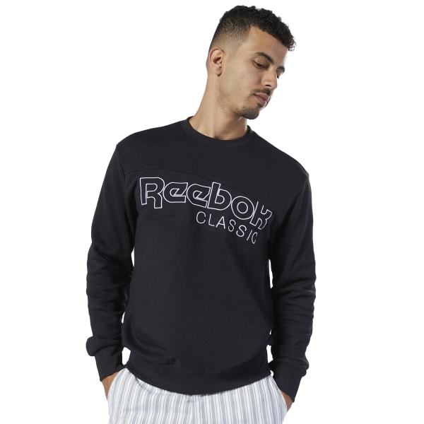 A modern take on a classic. This men\'s sweatshirt features an angular Reebok Classic logo printed on the front. The roomy cut gives it an easygoing vibe. It\'s made of French terry cotton for a super-soft feel. 100% cotton French terry Relaxed fit Reebok graphic on chest We partner with the Better Cotton Initiative to improve cotton farming globally Imported