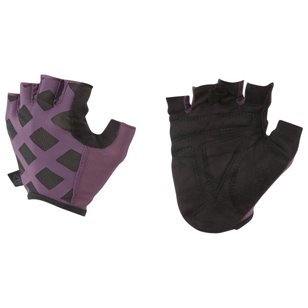 Get a grip on workout hand protection with our new women\'s Studio Glove. A fingerless design helps empower your finger feel, while spongy foam padding on the palm helps prevent calluses. Mesh on the back of the hand gives a little breathing room. Materials: 85% Nylon / 15% Spandex, knit fabric for stretch and fit Designed for: Studio classes, hand protection Elastic opening and finger tabs allow for easy ons and offs Light foam pads at the palms provide cushioning and shock absorption Faux suede on the palm for durability Imported
