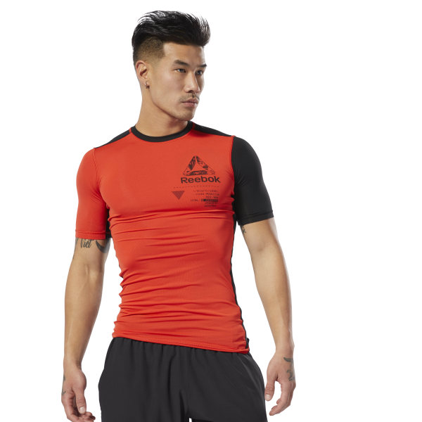 416d9596bb Reebok Training Graphic Compression Tee - Red | Reebok MLT