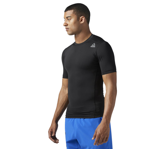 32bde2811f Reebok Workout Ready Short Sleeve Compression Tee - Black | Reebok MLT