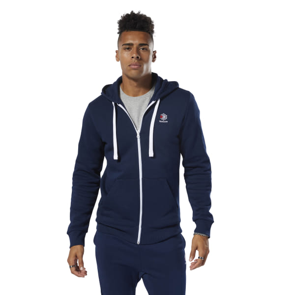 85007953 Reebok Classics Fleece Full-Zip Hoodie - Blue | Reebok GB