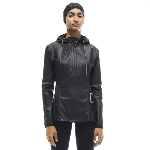 You can stash this lightweight jacket into its back pocket, then clip it onto your bag for easy travel. 100% recycled polyester Designed for: Training Slim fit Fashion product sizing runs smaller than traditional Reebok product; check size chart for details Two front zips that can be opened for a straighter fit Zip back pocket; Jacket packs into back pocket Imported