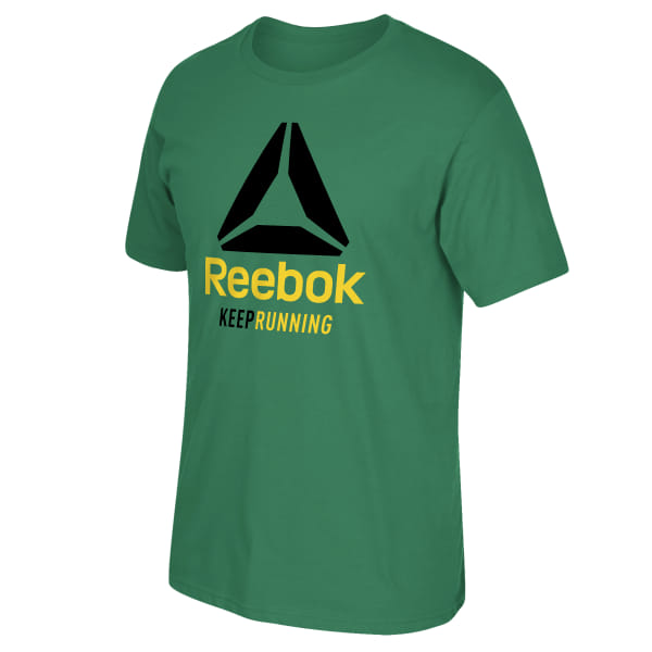 Reebok is launching this tee in support of Kemoy Campbell, Boston Track Club runner and member of the Reebok family. On February 9 Kemoy collapsed during the Millrose Games, was rushed to the hospital, and is still being treated. He is making progress but still has a long road ahead of him. The tee�s phrase �Keep Running� honors his journey not only on the track, but also towards recovery. Reebok made an initial donation of $50,000 and will also donate the purchase price from this tee�s sales towards Kemoy�s medical expenses. Tee available exclusively at Reebok.com. Purchase not tax deductible. Imported