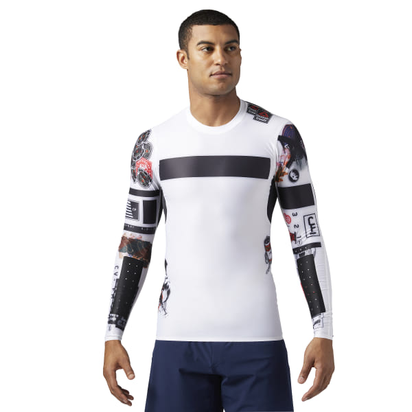 21d96aee74 Reebok CrossFit Compression Long Sleeve Shirt - White | Reebok MLT