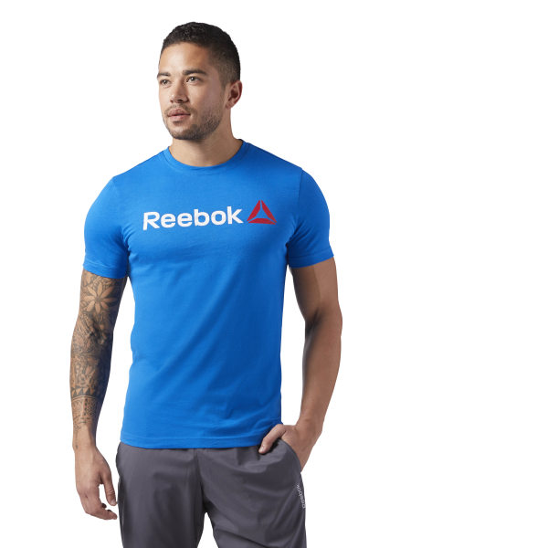 4423ade21 Reebok Linear Read Tee - Blue | Reebok GB
