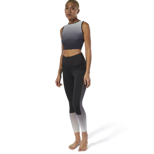Flow with intention in these women\'s tights. Supportive yet breathable, the sleek leggings reflect an inner state of calm with a light, ombre print. A modern, high-rise waist offers extra coverage and support. 85% recycled polyester / 15% spandex interlock Designed for: Yoga Fitted fit High waist Imported