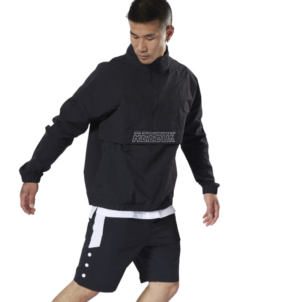 9104491401 Reebok Meet You There Woven 1/2 Zip - Black | Reebok MLT