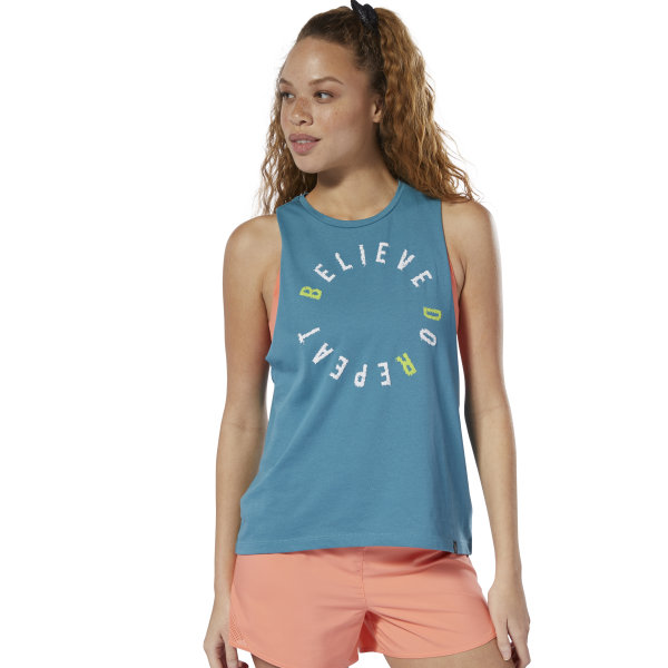 You can do it. This women\'s tank top declares your mantra loud and proud. Cut in a relaxed fit, the sleeveless tee has deep armholes and a curved hem for a sporty look. 60% cotton / 40% polyester single jersey Relaxed fit Crewneck Sleeveless Curved hem Imported