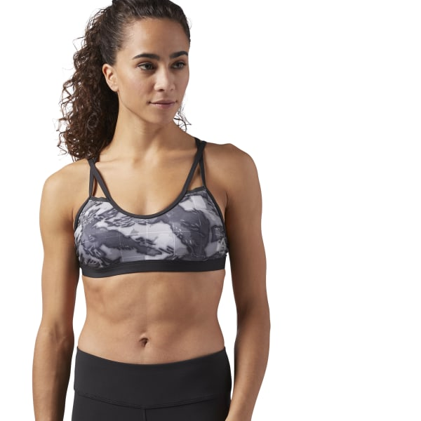 98ed5a64d7 Reebok CrossFit Graphic Strappy Sports Bra - Black | Reebok US