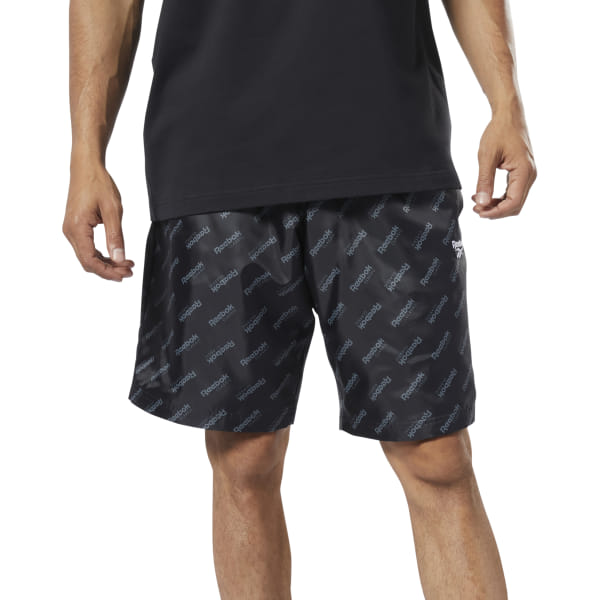 A sporty take on a wardrobe staple. These men\'s shorts feature an allover monogram print for heritage style. The waist adjusts for a comfortable fit. A recycled polyester plain weave gives it a crisp, slightly shiny feel. 100% recycled polyester plain weave Regular fit Side slip-in pockets Drawcord-adjustable waist These shorts are made with recycled polyester to save resources and decrease emissions Imported