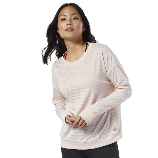 c8bfd052ee Reebok Studio Mesh Long Sleeve Tee - Beige | Reebok New Zealand