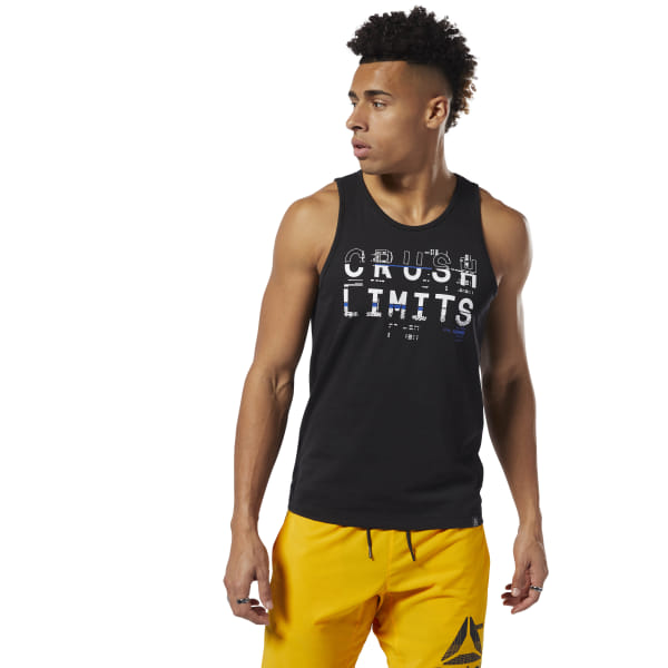 Crush your limits. This men\'s lightweight tank top is made of stretchy cotton for a full range of motion. The slim fit moves with your body as you power through reps. 100% cotton single jersey Slim fit Imported