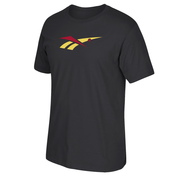 Make a statement without saying a word. This men\'s t-shirt is made of cotton-blend jersey for all-day comfort. A Reebok Vector logo is featured on the chest. 90% ringspun cotton / 10% polyester single jersey Crewneck Short sleeves Imported