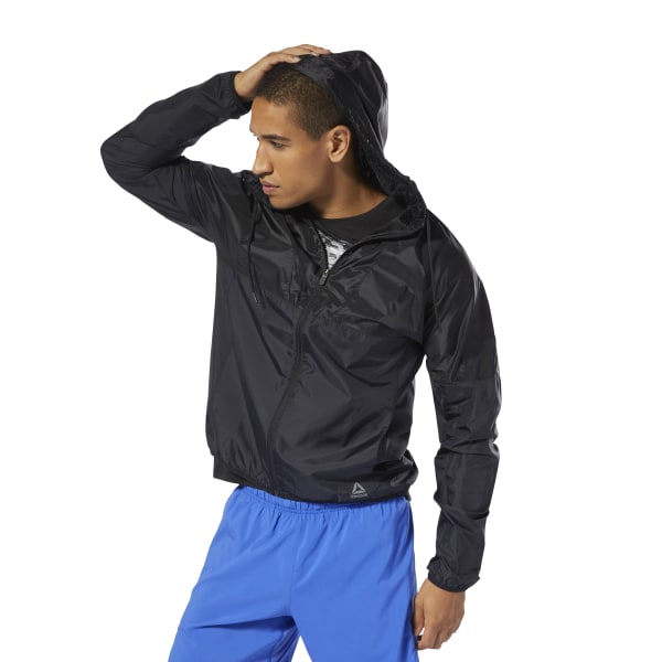 When rain clouds gather, zip on this men\'s training jacket and get to work. Lightweight and packable, it\'s made of water-resistant fabric for coverage in wet weather. A drawcord-adjustable hood gives you extra coverage from the weather so you can focus on your regimen. 100% polyester taffeta Regular fit Hood with drawcord for adjustability Translucent upper body Water resistant for weather protection Imported
