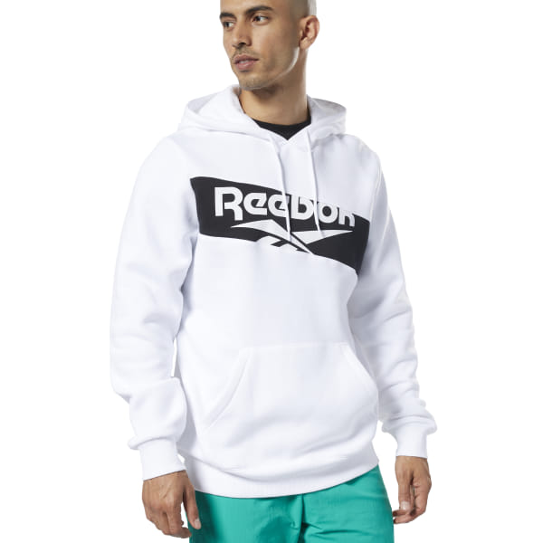 Retro \'90s style inspires this men\'s hoodie. Simple yet stylish, it\'s made of soft fleece fabric for a cozy feel. A diagonal logo printed across the front makes a bold statement. 80% organic cotton / 20% polyester fleece Regular fit Drawcord-adjustable hood Kangaroo pocket Ribbed cuffs and hem for a snug fit Imported