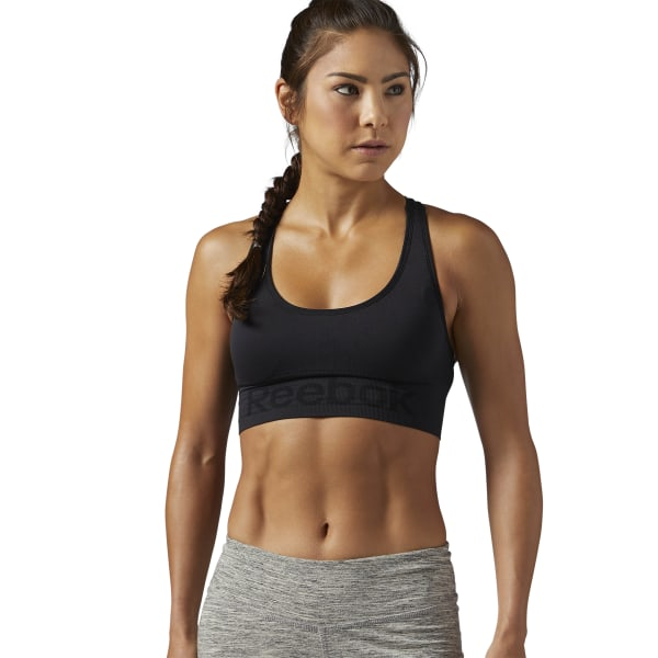 1192e3614a Reebok Workout Ready Seamless Sports Bra - Black | Reebok MLT